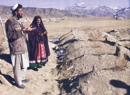Afghan villagers mourn at the graves of children killed by US forces as a result of faulty electronic intelligence